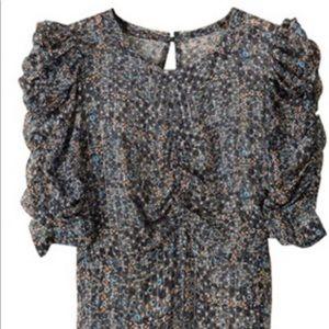 Isabel Marant H&M Peacock Sheer Ruched Silk Top- 4